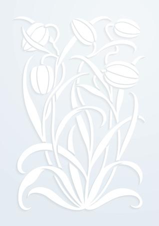 Papel adornos florales. Silueta de los tulipanes. Figura ramo en forma de una plantilla o de recorte. fondo del vector