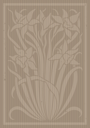Floral ornament stylized cardboard. Silhouette of flowers. Figure bouquet in the form of a stencil or applique. Vector background