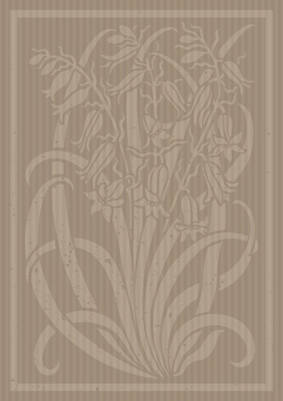 stenciled: Floral ornament. Silhouette of Bellflower. Figure bouquet in the form of a stencil or applique with carton. Vector background