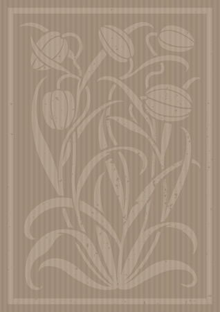 Carton floral ornament. Silhouette of Tulips. Figure bouquet in the form of a stencil or cutout. Vector background