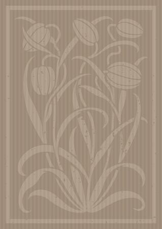 Carton adornos florales. Silueta de los tulipanes. Figura ramo en forma de una plantilla o de recorte. fondo del vector
