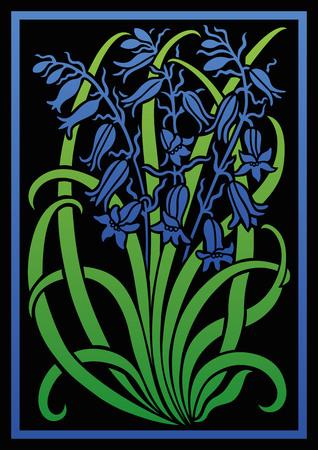 adornos florales de colores. Silueta de Bellflower. Figura ramo en forma de una plantilla o apliques. fondo del vector