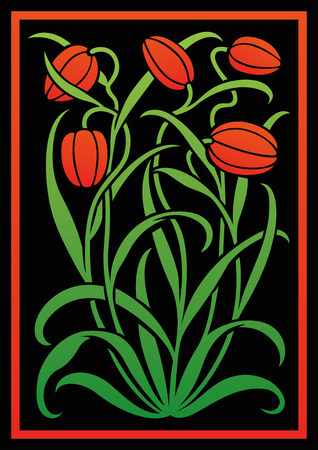Colorful floral ornament. Silhouette of Tulips. Figure bouquet in the form of a stencil or cutout. Vector background