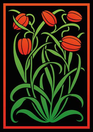 adornos florales de colores. Silueta de los tulipanes. Figura ramo en forma de una plantilla o de recorte. fondo del vector