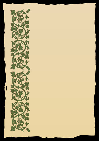 side border: Template book page in a medieval style. Place for text. Floral frame of interwoven stems, foliage and flowers. Vector edging, design element and page decoration. Vector retro background