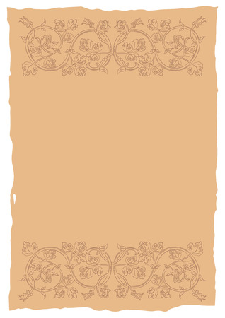rarity: Old page in a medieval style with floral ornament of interwoven stems, foliage and flowers. Vector edging, design element and page decoration. Place for text. Vector retro background