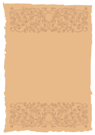 folio: Old page in a medieval style with floral ornament of interwoven stems, foliage and flowers. Vector edging, design element and page decoration. Place for text. Vector retro background