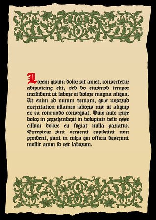 catchword: Book page in a medieval style. Place for text. Floral frame of interwoven stems, foliage and flowers. Vector edging, design element and page decoration. Vector retro background Illustration