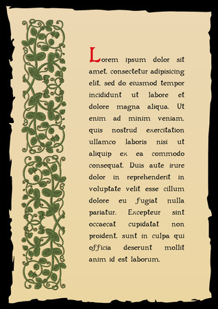 rarity: Old book page in a medieval style. Place for text. Floral frame of interwoven stems, foliage and flowers. Vector edging, design element and page decoration. Vector retro background