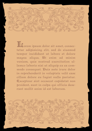 rarity: Template book page in a medieval style. Place for text. Floral frame of interwoven stems, foliage and flowers. Vector edging, design element and page decoration. Vector retro background