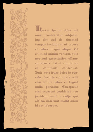 catchword: Template book page in a medieval style. Place for text. Floral frame of interwoven stems, foliage and flowers. Vector edging, design element and page decoration. Vector retro background