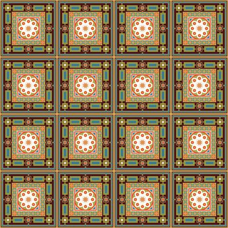 historical: Geometric seamless pattern. Decoration for wallpaper, fabrics, tiles and mosaics. Ornate background. Editable vector file. Illustration