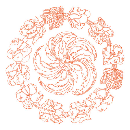 horn of plenty: Elegance round ornament, wreath made of hand drawn leaves and fruits. Horn of plenty. Outline fruits and vegetables arranged on a circle. Vector medallion