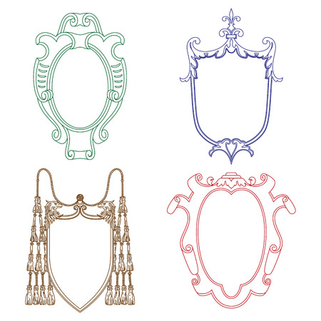 aristocratic: Vector cartouches. Vintage luxury decorative ornate shield, frame and border. Set of coat of arms.