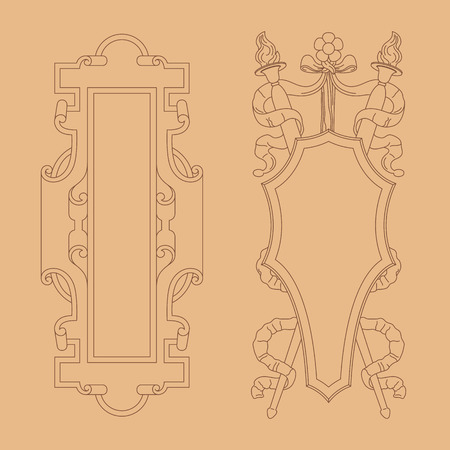 aristocratic: Vintage luxury decorative ornate shield, frame and border. Set of coat of arms. Vector file