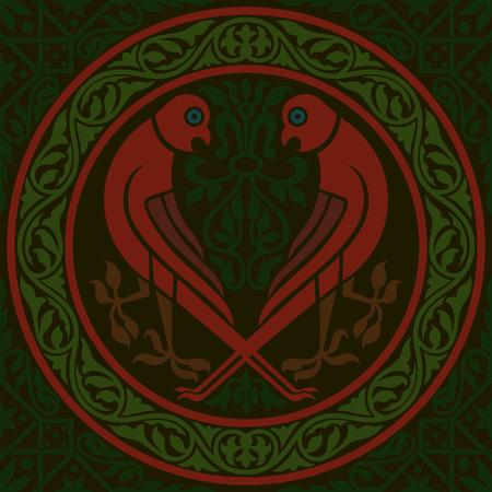 prey: Pattern with birds of prey. Vector seamless illustration