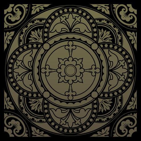 church interior: Decorative round lace, circle ornament. Symmetric composition, seamless background. Vector illustrations.