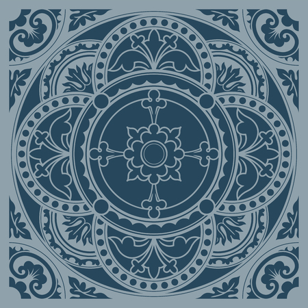 Decorative round lace, circle ornament. Symmetric composition, seamless background. Vector illustrations.