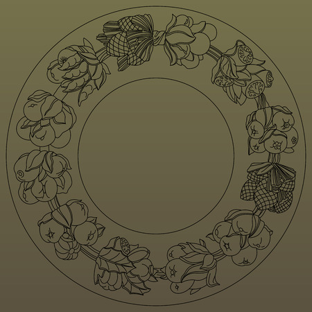 horn of plenty: Round ornament, wreath made of hand drawn leaves and fruits. Horn of plenty. Fruits and vegetables arranged on a circle. Vector medallion