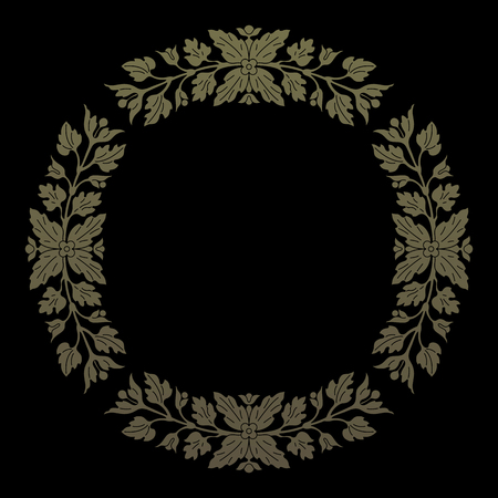 inlay: Gold round floral ornament, inlay pattern. Vector file