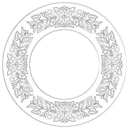 Floral round lace ornament. Vector file