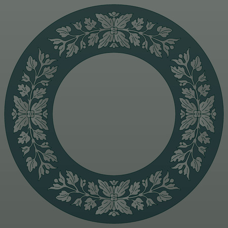 inlay: Round floral ornament, inlay pattern. Vector file