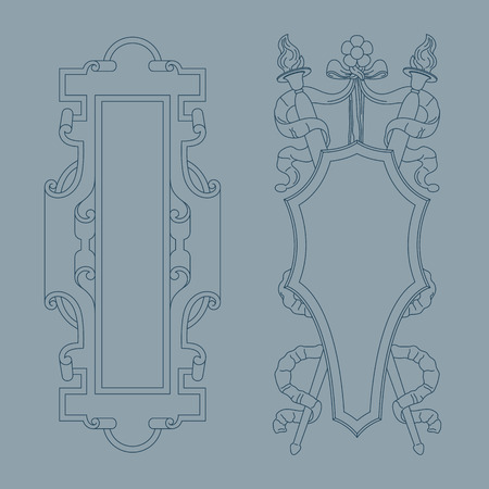 Vintage luxury decorative ornate shield, frame and border. Set of coat of arms. Vector file.