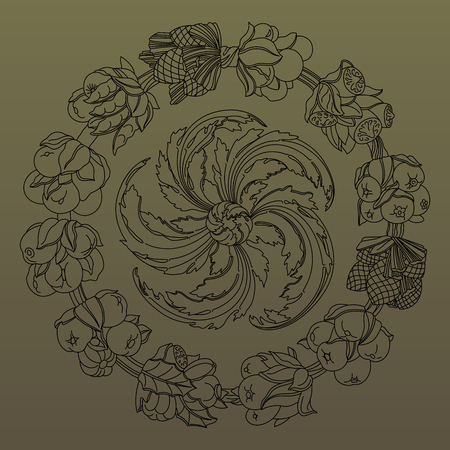 horn of plenty: Elegant round ornament, wreath made of hand drawn leaves and fruits. Horn of plenty. Outline fruits and vegetables arranged on a circle. Vector medallion