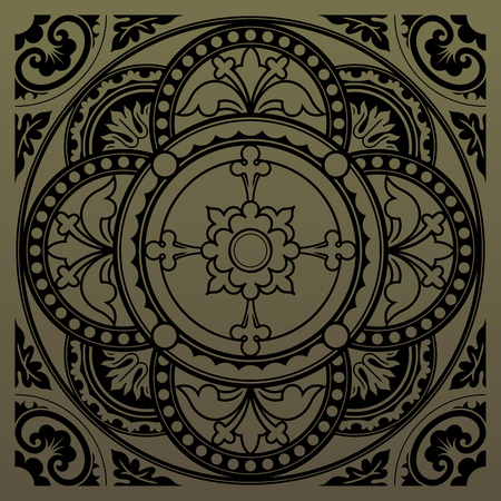 sacraments: Decorative round lace, circle ornament. Symmetric composition, seamless background. Vector illustrations.