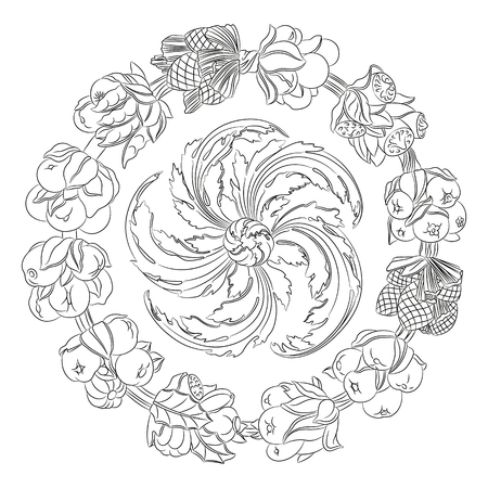 horn of plenty: Round ornament, wreath made of hand drawn leaves and fruits. Horn of plenty. Outline fruits and vegetables arranged on a circle. Vector medallion