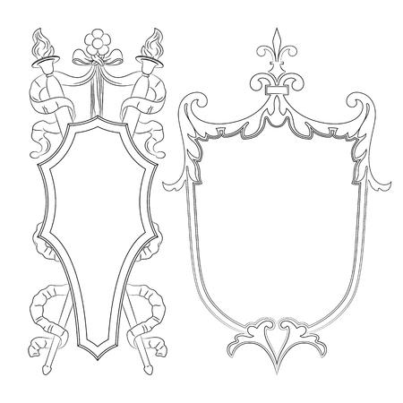 Outline luxury decorative ornate shield, frame and border. Set of coat of arms. Vector file Illustration