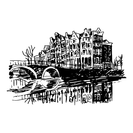historical building: Vector illustration of old houses in Amsterdam, Holland, Netherlands, Europe. Historical building line art. Hand drawn sketch