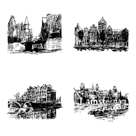amsterdam canal: Landmarks in Amsterdam (Holland, Netherlands, Europe). Historical building line art. Hand drawn sketch. Set of vector illustrations