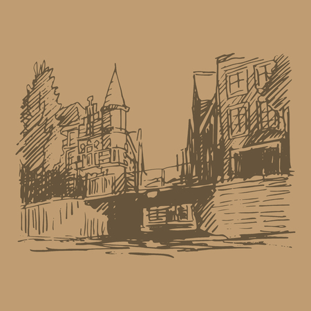 amsterdam canal: Vector illustration of old houses in Amsterdam (Holland, Netherlands, Europe). Historical building line art. Hand drawn sketch Illustration