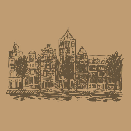 historical building: Vector illustration of embankment in Amsterdam (Holland, Netherlands, Europe). Historical building line art. Hand drawn sketch Illustration