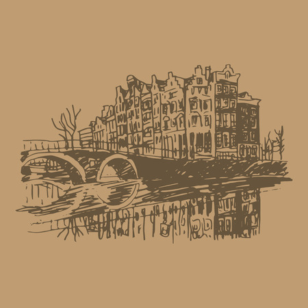 dutch landmark: Vector illustration of old houses in Amsterdam, Holland, Netherlands, Europe. Historical building line art. Hand drawn sketch