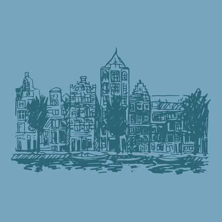 amsterdam canal: Vector illustration of embankment in Amsterdam (Holland, Netherlands, Europe). Historical building line art. Hand drawn sketch Illustration