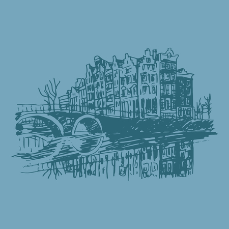 Vector illustration of old houses in Amsterdam, Holland, Netherlands, Europe. Historical building line art. Hand drawn sketch