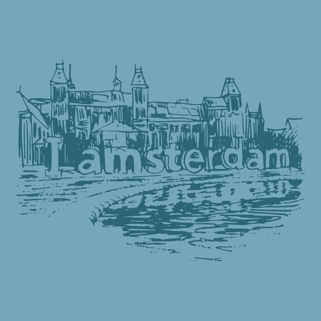 amsterdam canal: Vector illustration of landmark in Amsterdam (Holland, Netherlands, Europe). Historical building line art. Hand drawn sketch Illustration