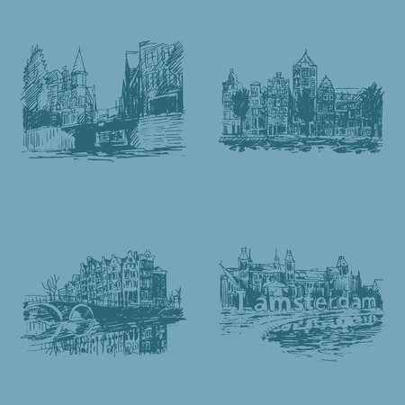 historical building: Landmarks in Amsterdam (Holland, Netherlands, Europe). Historical building line art. Hand drawn sketch. Set of vector illustrations