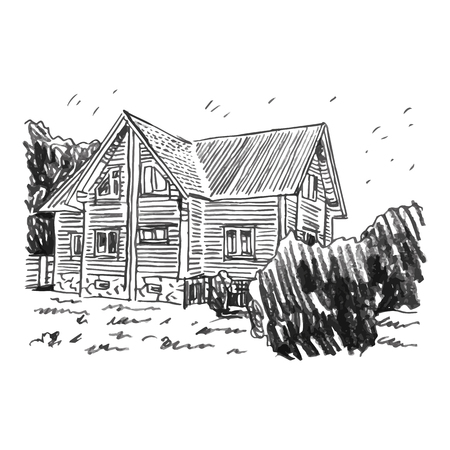 chalet: A sketch of a cottage. Vector freehand pencil drawing.