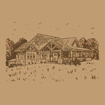 A sketch of a country house. Vector freehand pencil drawing. Illustration