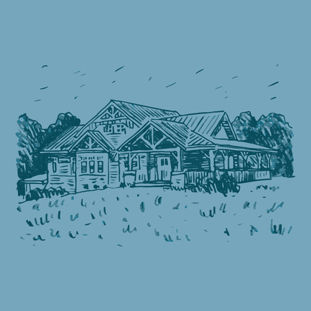 country house: A sketch of a country house. Vector freehand pencil drawing. Illustration