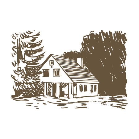 View of the country house in the woods. Vector freehand pencil sketch. Illustration