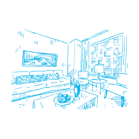 home furnishings: Sketch of interior. Vector file