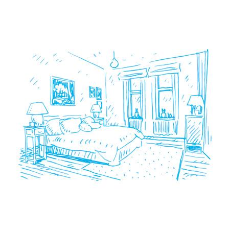 home furnishings: Sketch of bedroom design. Vector file Illustration