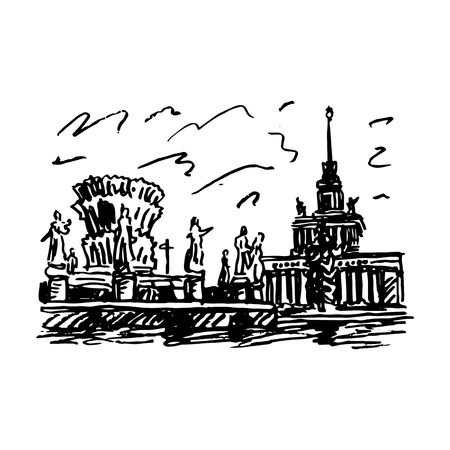 quick drawing: Moscow, VDNKh (All-Russia Exhibition Center). Fountain of friendship of the peoples and Central Pavilion. Vector quick sketch.