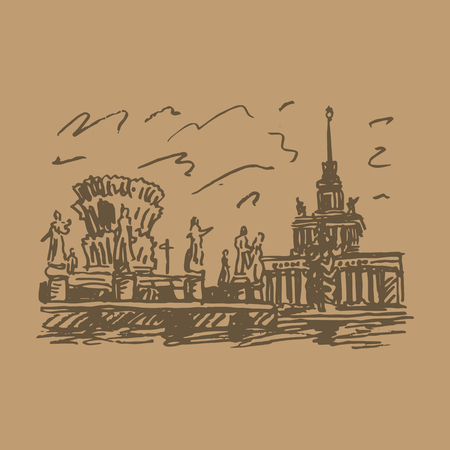 quick: Moscow, VDNKh (All-Russia Exhibition Center). Fountain of friendship of the peoples and Central Pavilion. Vector quick sketch.