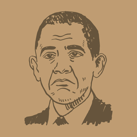 celebrities: Portrait of the President of USA Barack Obama. Vector freehand pencil sketch.