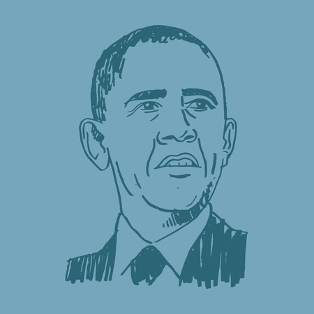 president of the usa: Portrait of the President of USA Barack Obama. Vector freehand pencil sketch.